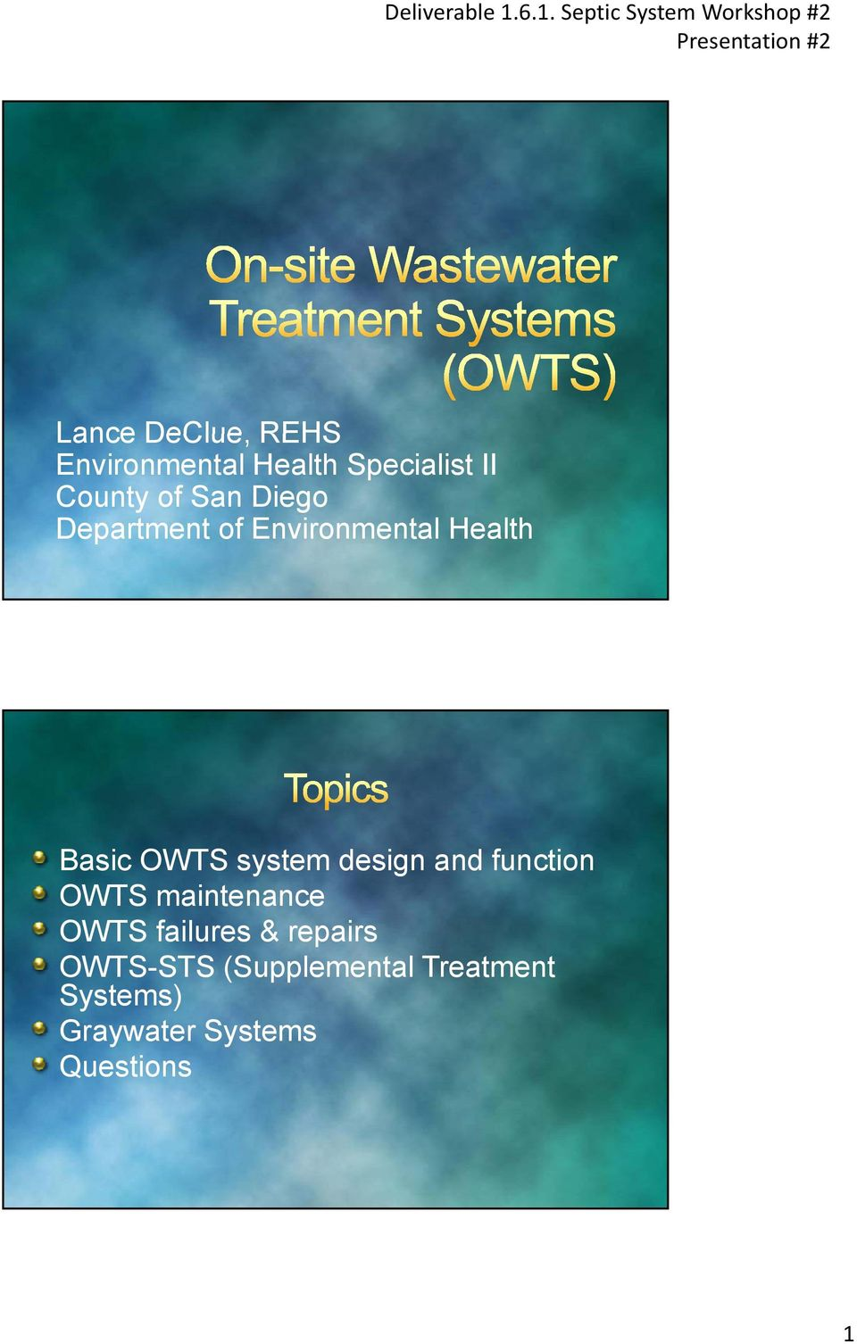 design and function OWTS maintenance OWTS failures & repairs