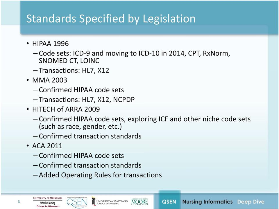 Confirmed HIPAA code sets, exploring ICF and other niche code sets (such as race, gender, etc.