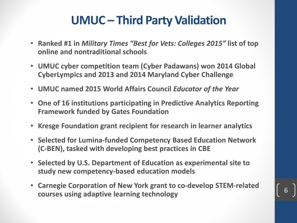 funded by Gates Foundation Kresge Foundation grant recipient for research in learner analytics Selected for Lumina-funded Competency Based Education Network (C-BEN), tasked with developing best