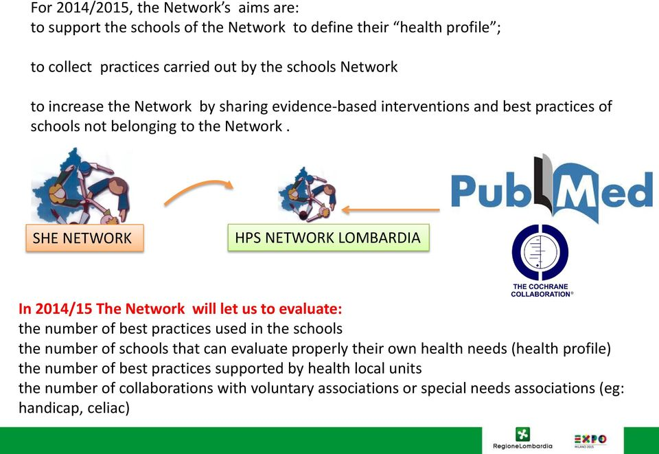 SHE NETWORK HPS NETWORK LOMBARDIA In 2014/15 The Network will let us to evaluate: the number of best practices used in the schools the number of schools that can