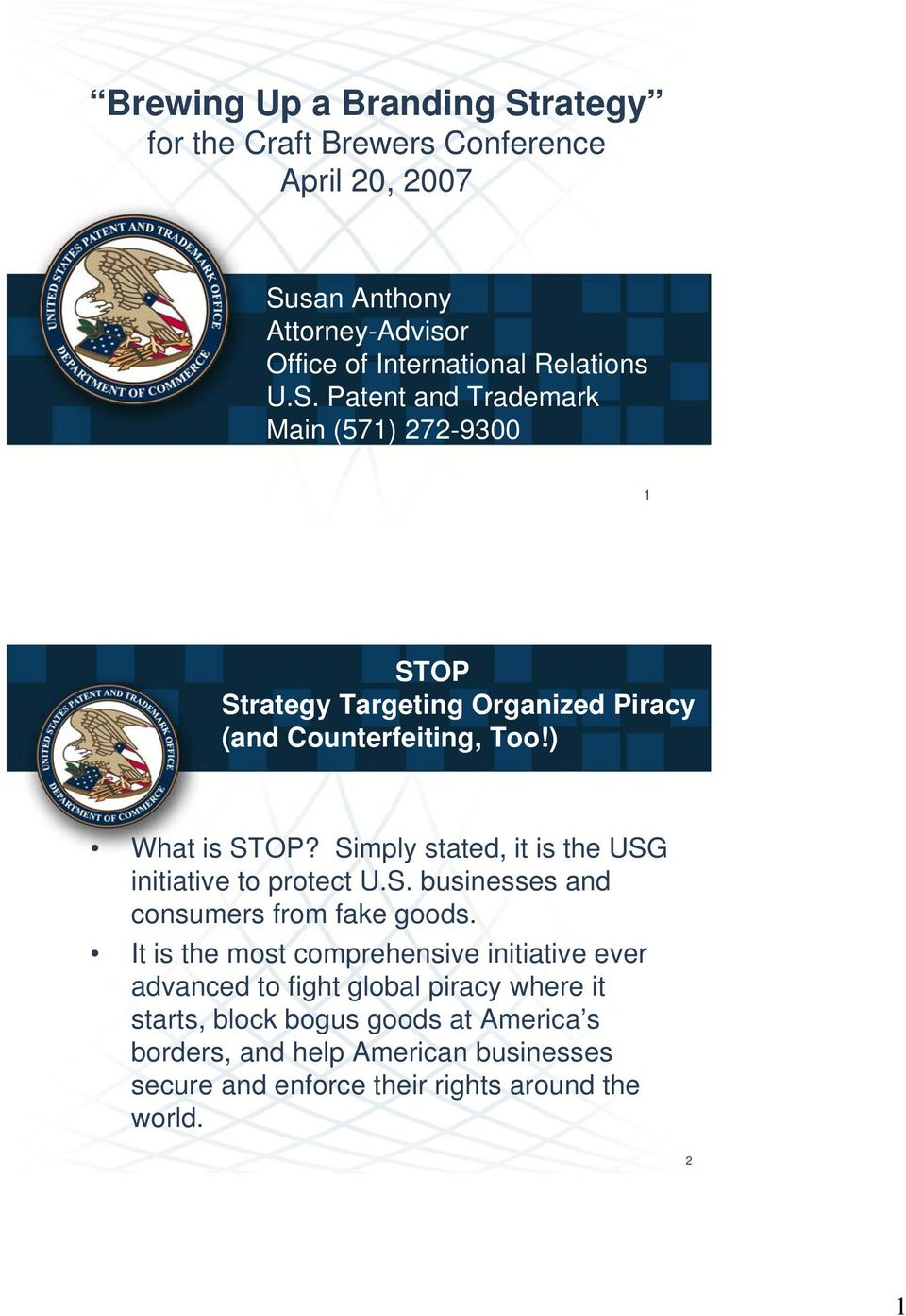 Simply stated, it is the USG initiative to protect U.S. businesses and consumers from fake goods.