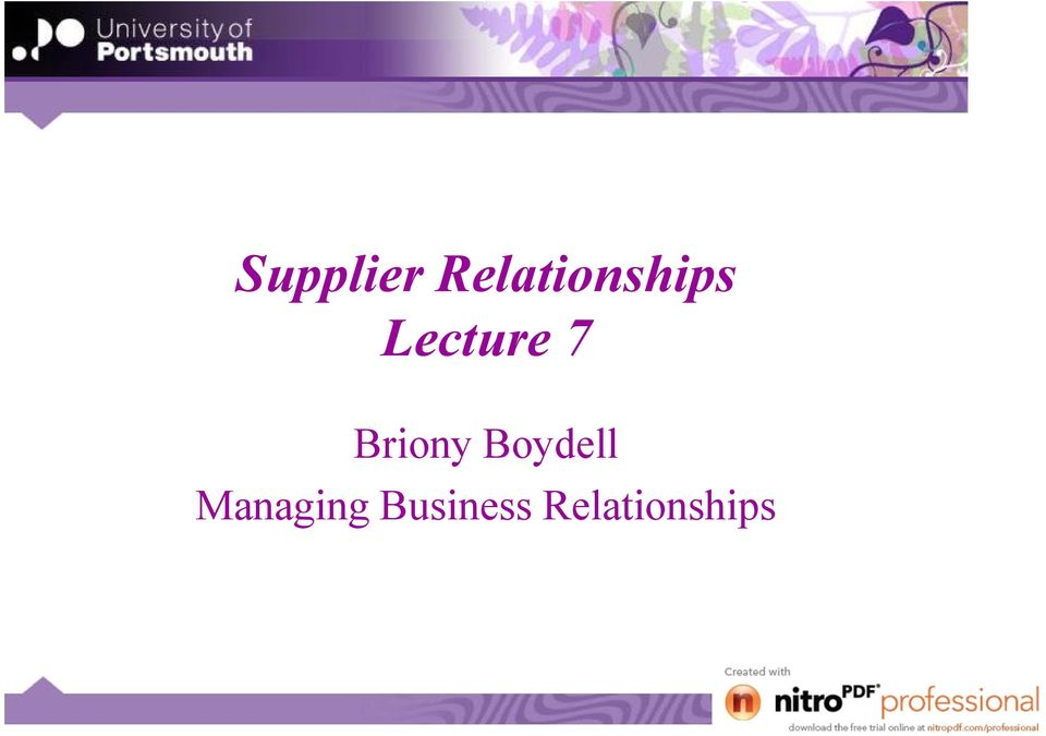 Lecture 7 Briony