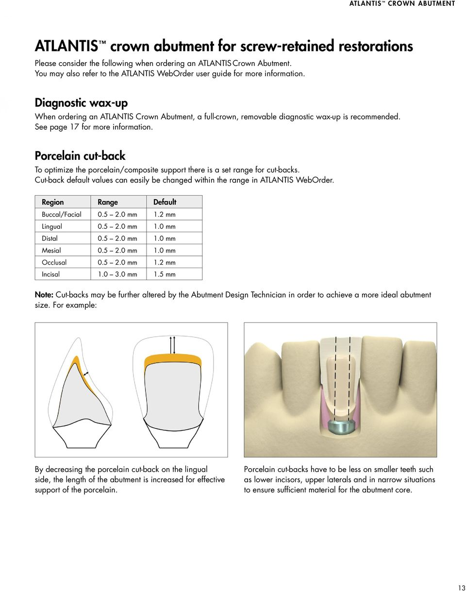 See page 17 for more information. Porcelain cut-back To optimize the porcelain/composite support there is a set range for cut-backs.