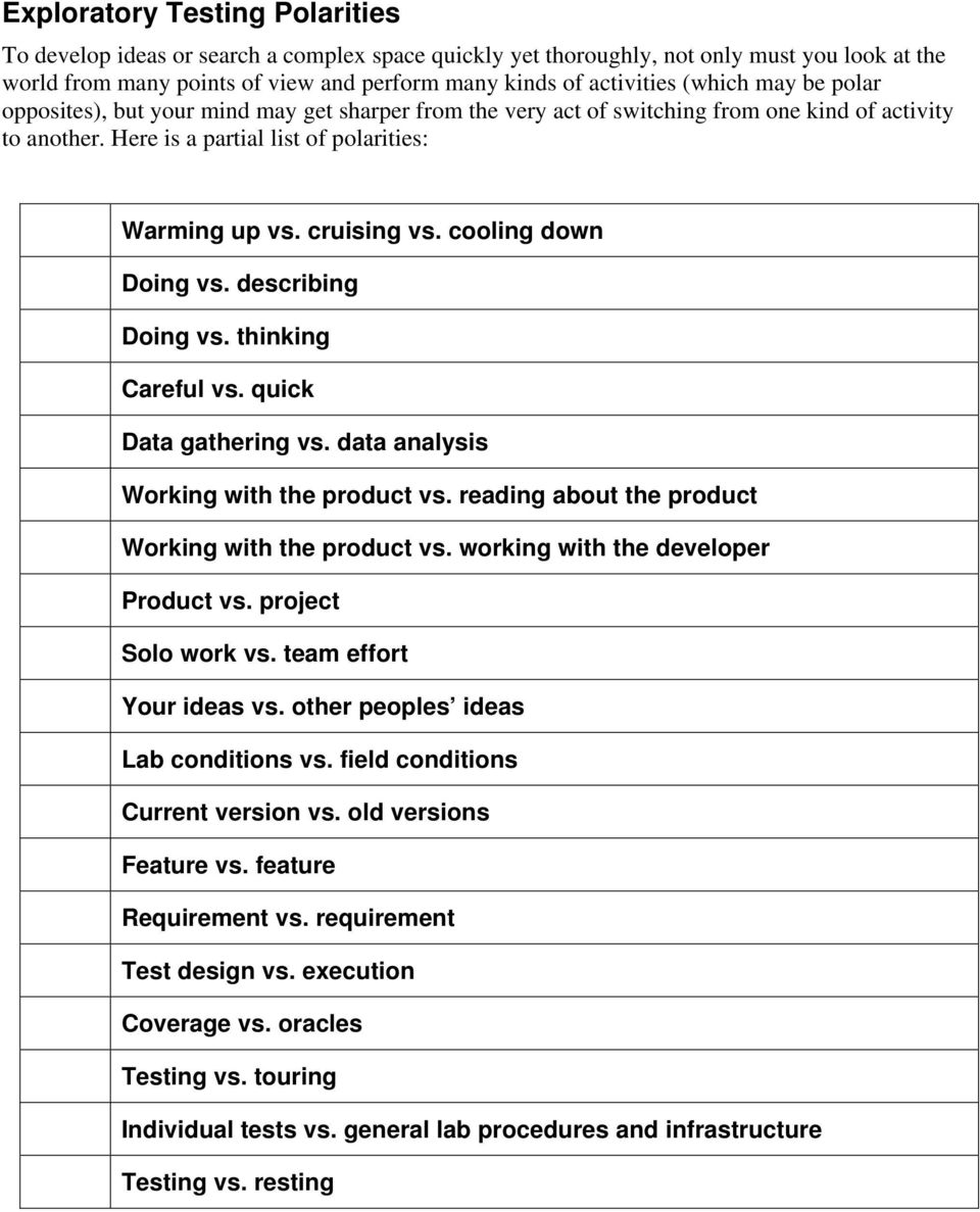 cooling down Doing vs. describing Doing vs. thinking Careful vs. quick Data gathering vs. data analysis Working with the product vs. reading about the product Working with the product vs.