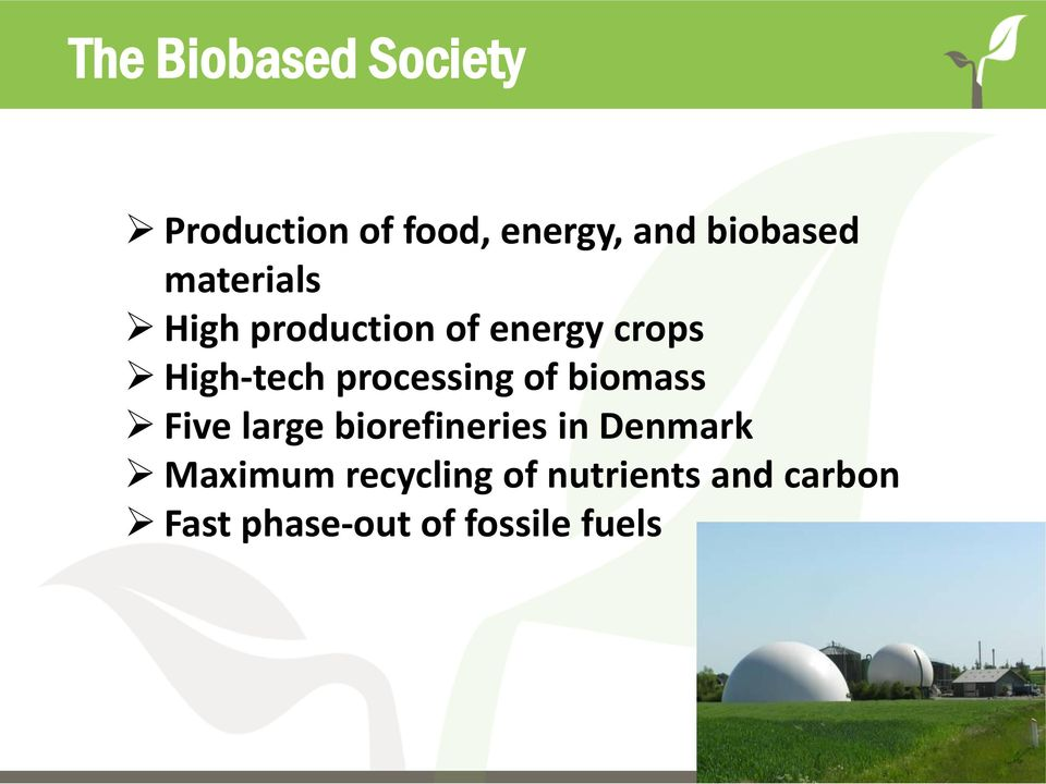 processing of biomass Five large biorefineries in Denmark
