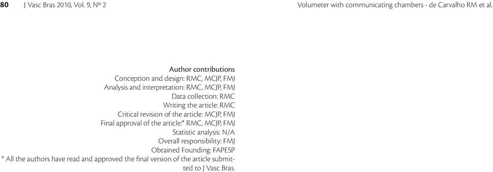 Writing the article: RMC Critical revision of the article: MCJP, FMJ Final approval of the article:* RMC, MCJP, FMJ Statistic