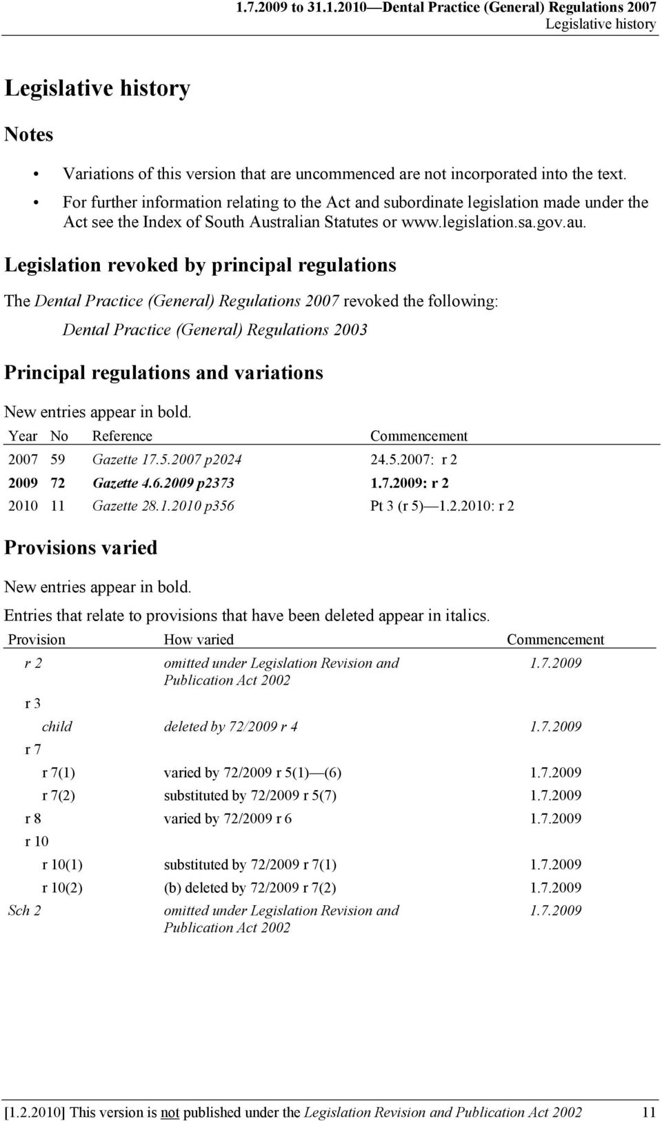 Legislation revoked by principal regulations The Dental Practice (General) Regulations 2007 revoked the following: Dental Practice (General) Regulations 2003 Principal regulations and variations New