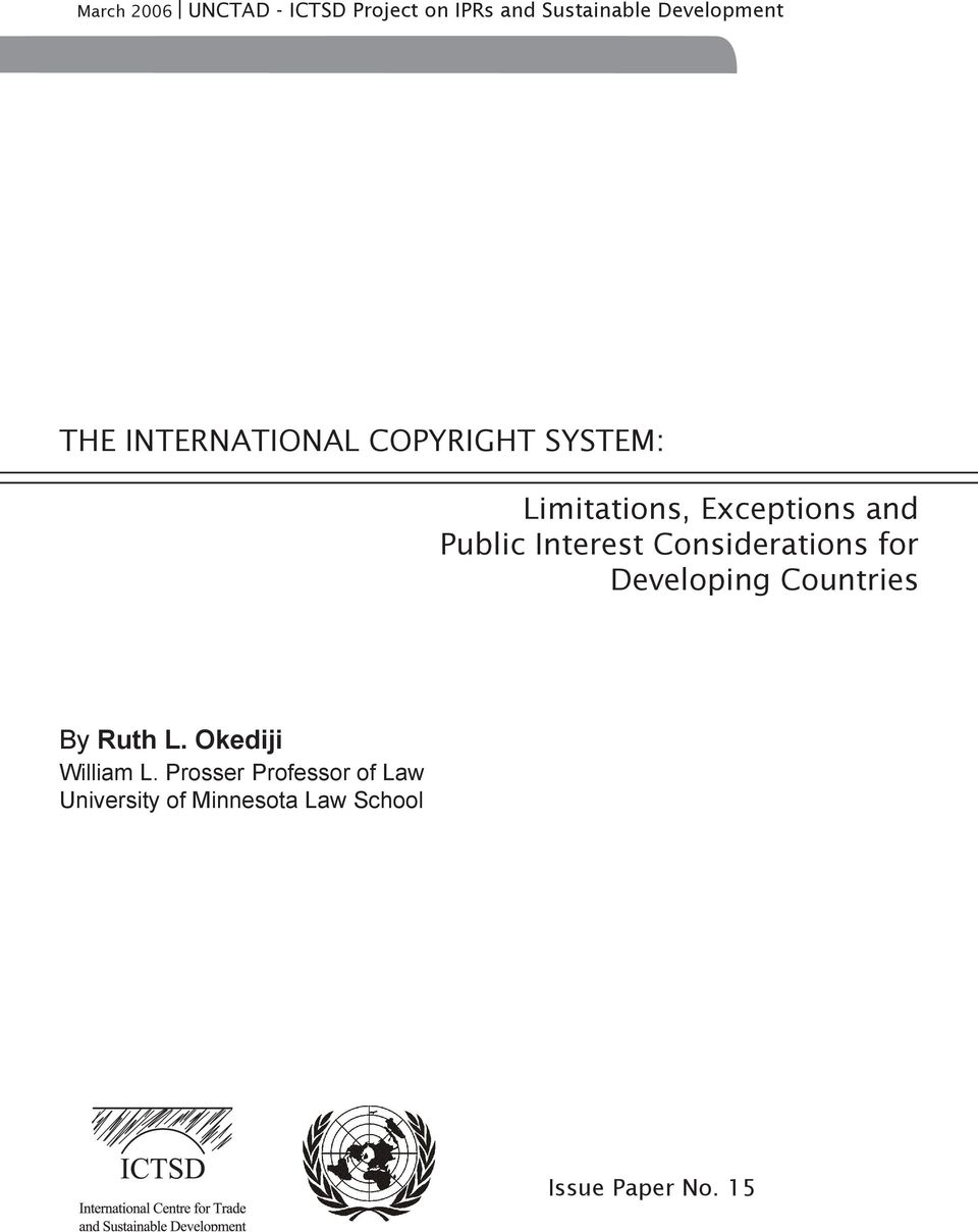 Interest Considerations for Developing Countries By Ruth L.