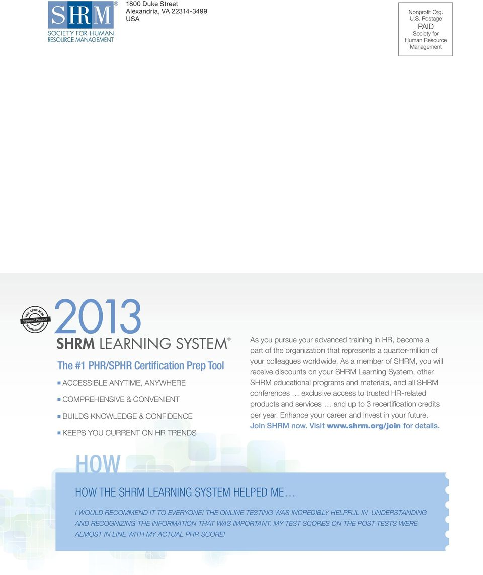The 1 Phrsphr Certification Prep Tool Shrm Learning System