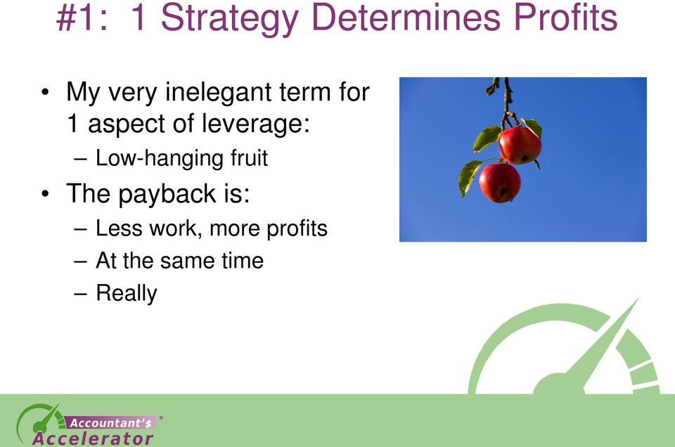 leverage: Low-hanging fruit The payback