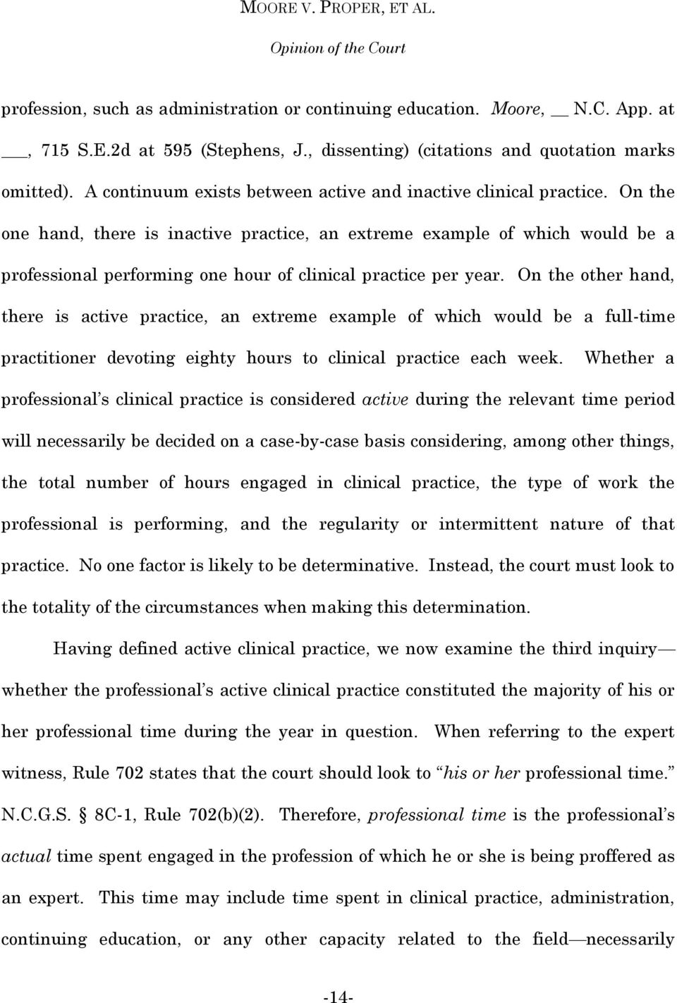 On the one hand, there is inactive practice, an extreme example of which would be a professional performing one hour of clinical practice per year.