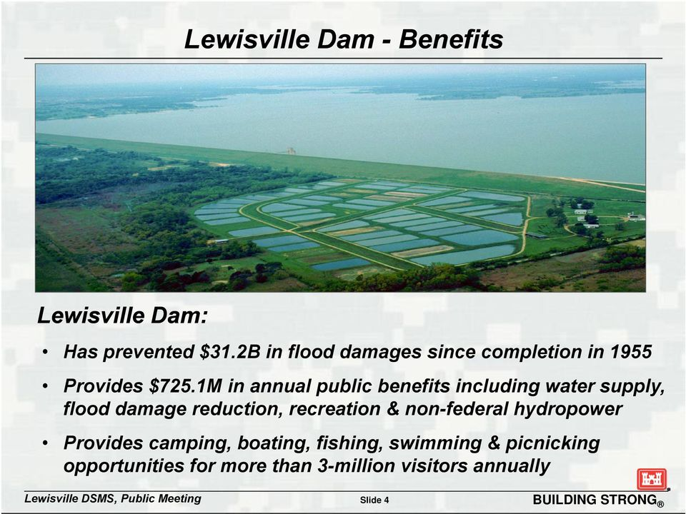1M in annual public benefits including water supply, flood damage reduction, recreation &