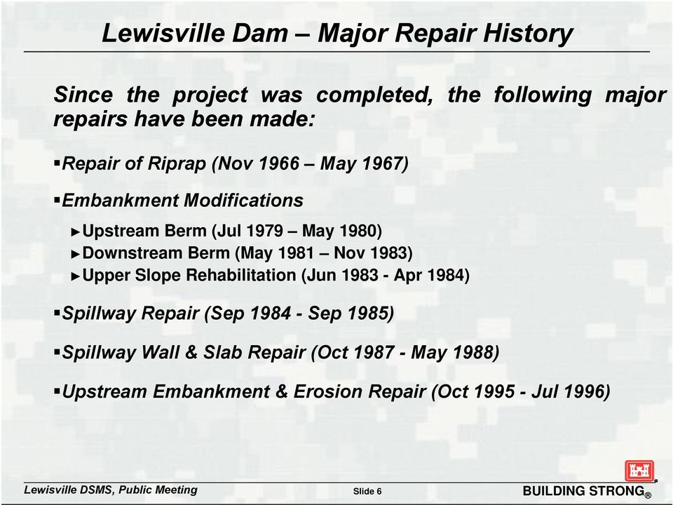 1983) Upper Slope Rehabilitation (Jun 1983 - Apr 1984) Spillway Repair (Sep 1984 - Sep 1985) Spillwayp y Wall