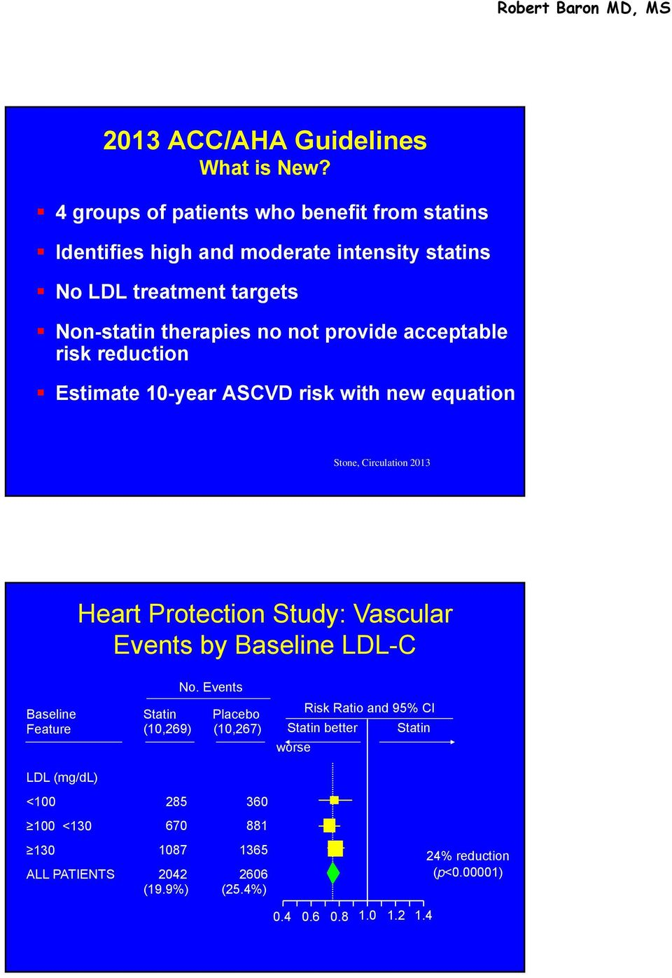 provide acceptable risk reduction Estimate 10-year ASCVD risk with new equation Stone, Circulation 2013 Heart Protection Study: Vascular Events by