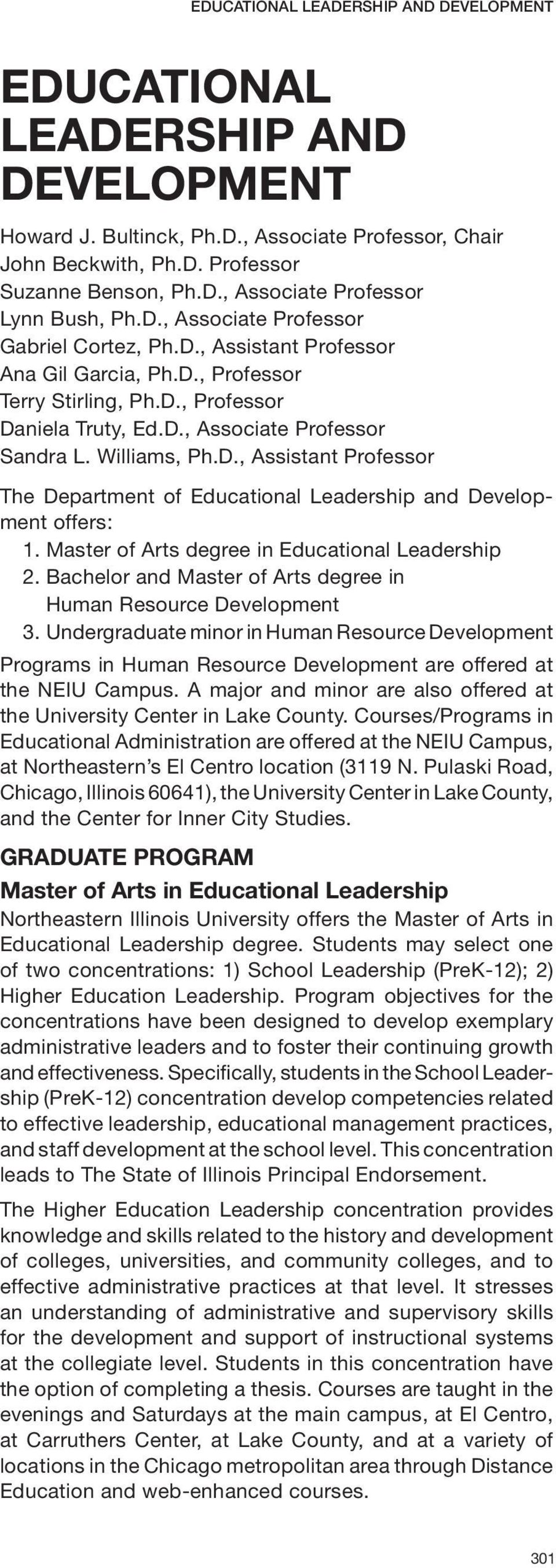 Master of Arts degree in Educational Leadership 2. Bachelor and Master of Arts degree in Human Resource Development 3.