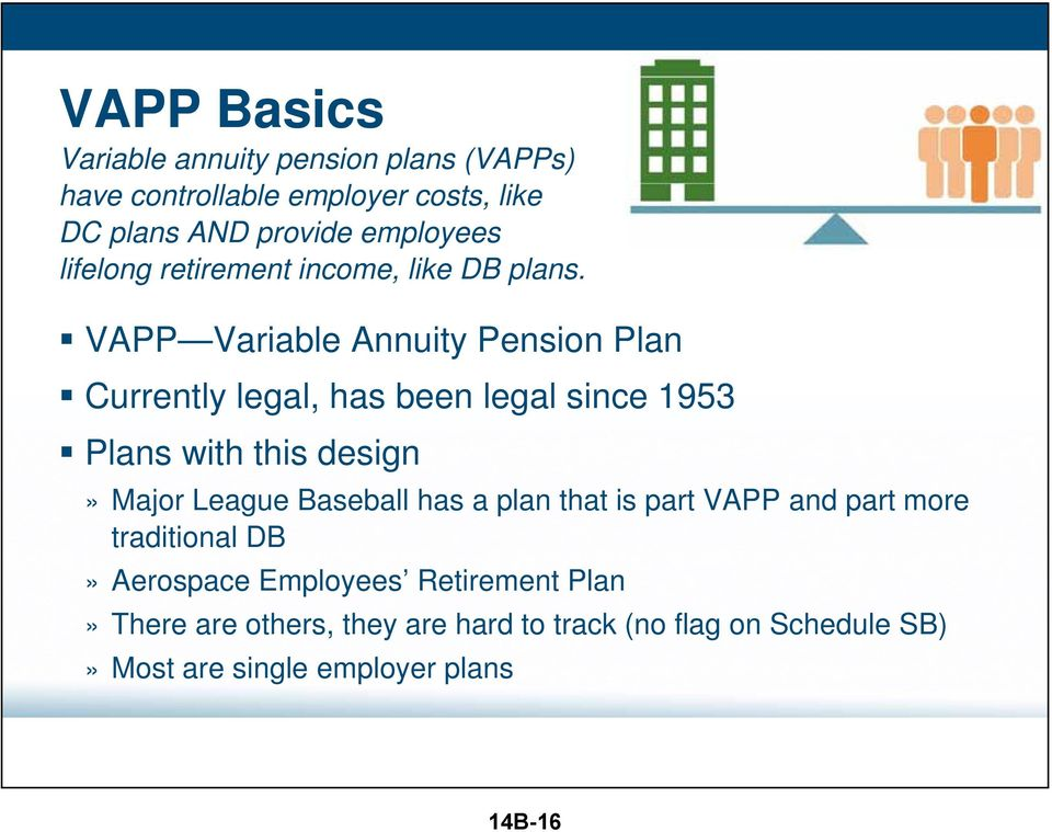 VAPP Variable Annuity Pension Plan Currently legal, has been legal since 1953 Plans with this design» Major League