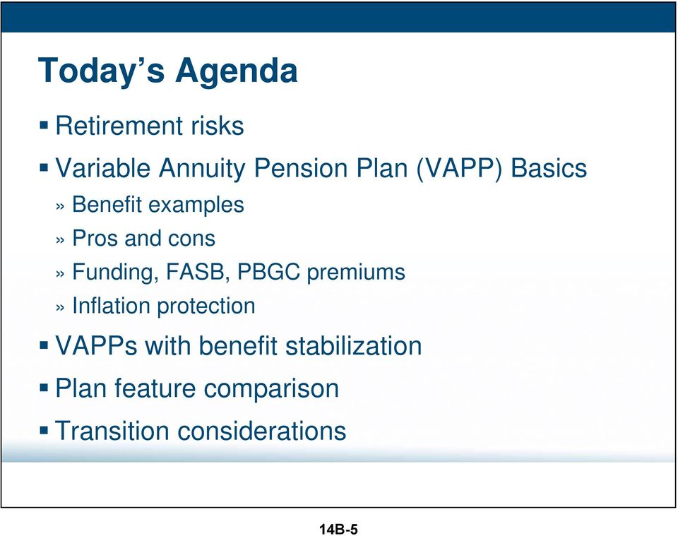 PBGC premiums» Inflation protection VAPPs with benefit