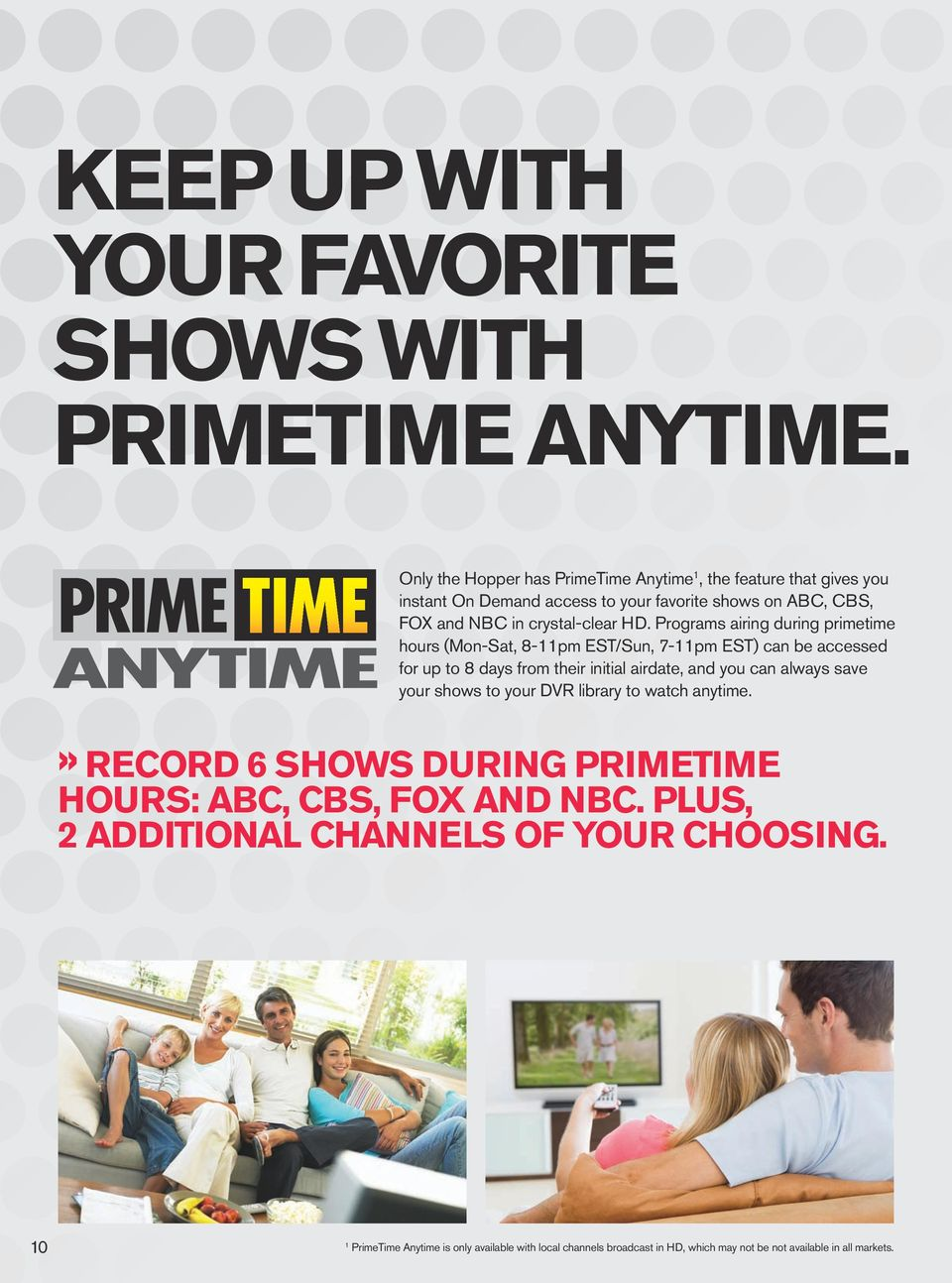 Programs airing during primetime hours (Mon-Sat, 8-11pm EST/Sun, 7-11pm EST) can be accessed for up to 8 days from their initial airdate, and you can always save