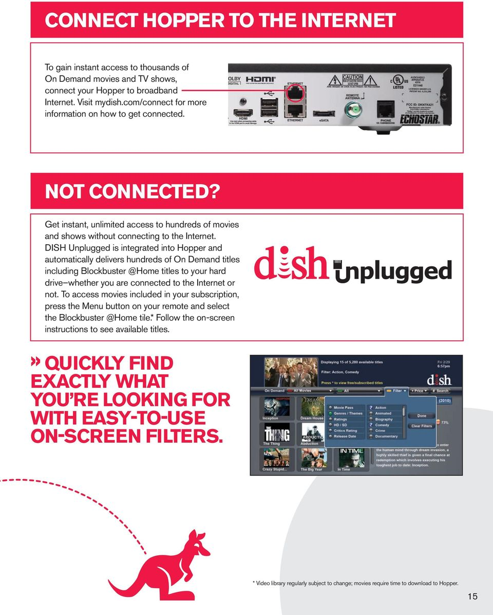 DISH Unplugged is integrated into Hopper and automatically delivers hundreds of On Demand titles including Blockbuster @Home titles to your hard drive whether you are connected to the Internet or not.