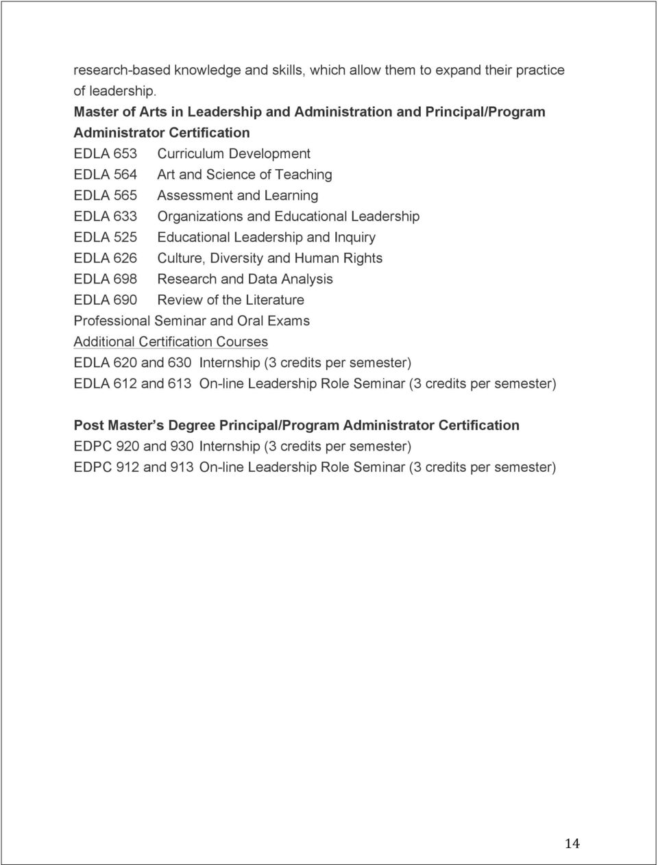 EDLA 633 Organizations and Educational Leadership EDLA 525 Educational Leadership and Inquiry EDLA 626 Culture, Diversity and Human Rights EDLA 698 Research and Data Analysis EDLA 690 Review of the
