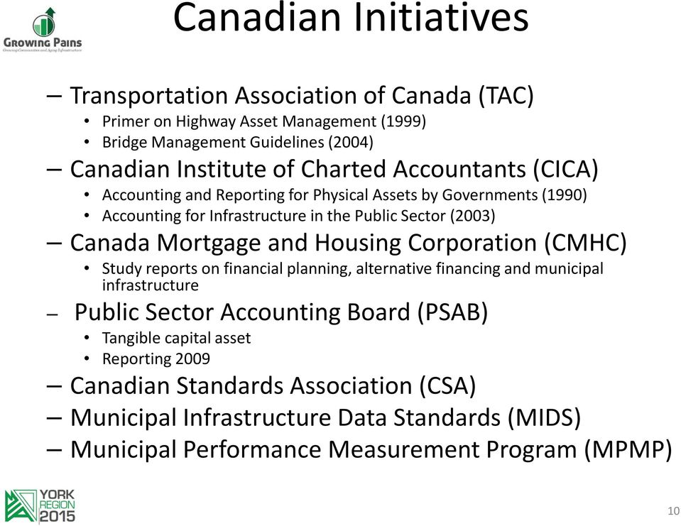 Mortgage and Housing Corporation (CMHC) Study reports on financial planning, alternative financing and municipal infrastructure Public Sector Accounting Board (PSAB)