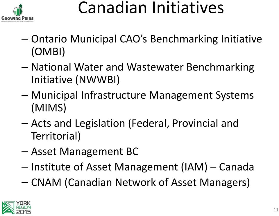 Systems (MIMS) Acts and Legislation (Federal, Provincial and Territorial) Asset