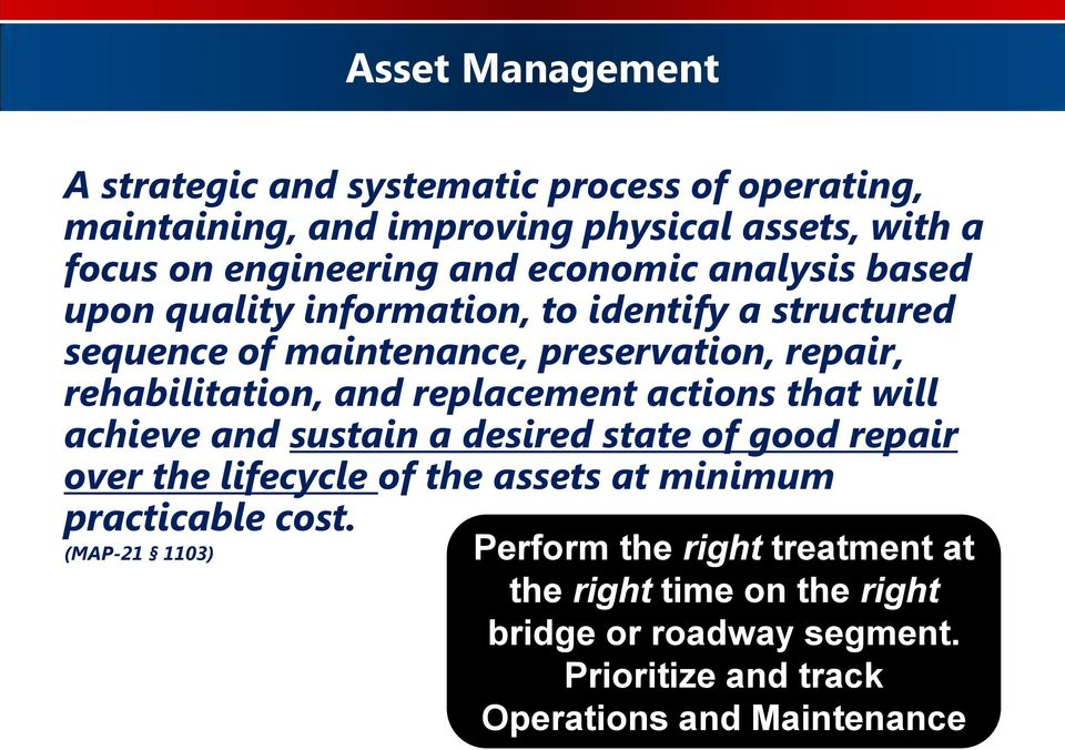 replacement actions that will achieve and sustain a desired state of good repair over the lifecycle of the assets at minimum practicable cost.