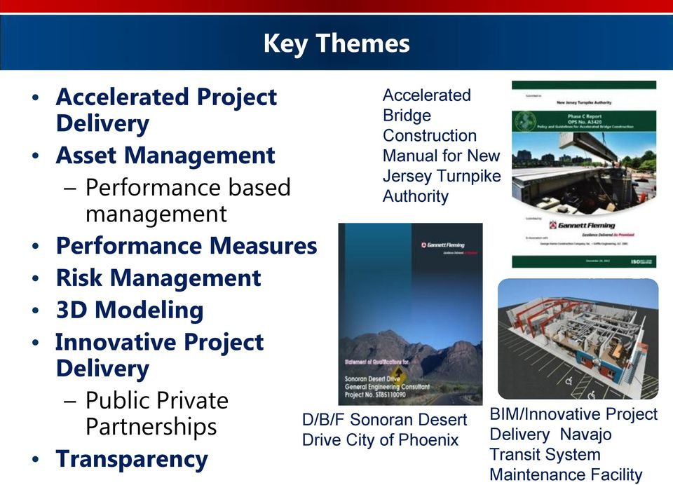 Key Themes Accelerated Bridge Construction Manual for New Jersey Turnpike Authority D/B/F Sonoran