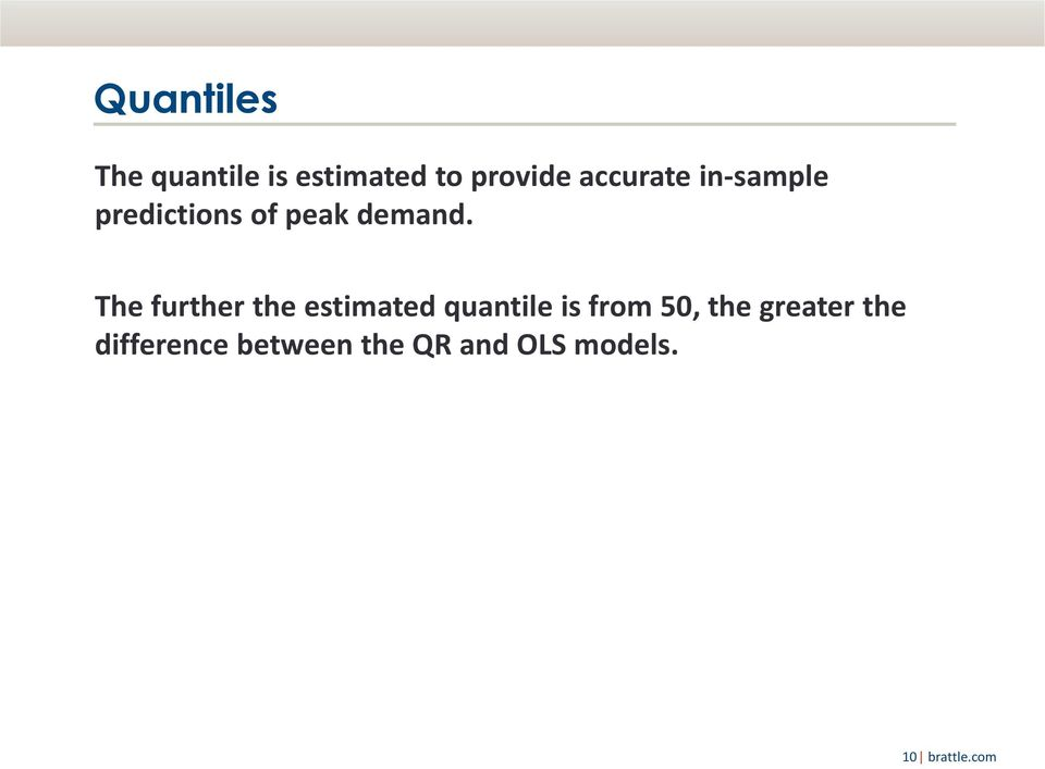 The further the estimated quantile is from 50, the