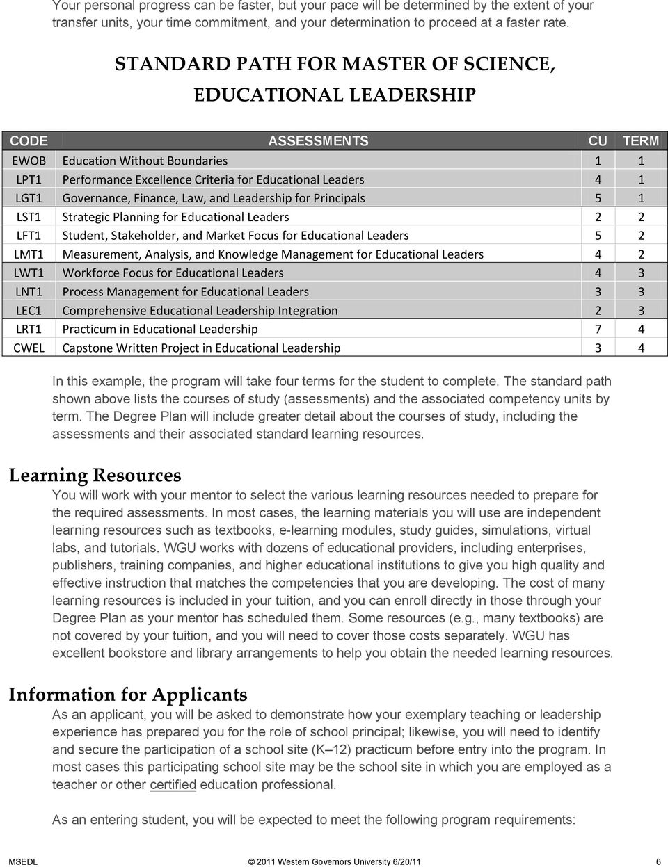 Governance, Finance, Law, and Leadership for Principals 5 1 LST1 Strategic Planning for Educational Leaders 2 2 LFT1 Student, Stakeholder, and Market Focus for Educational Leaders 5 2 LMT1