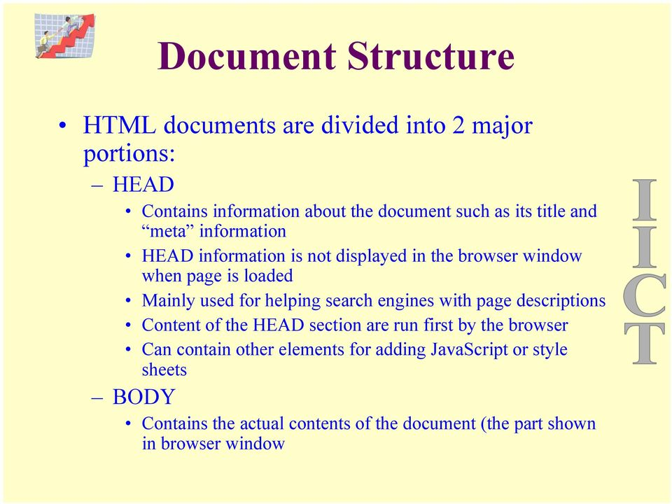helping search engines with page descriptions Content of the HEAD section are run first by the browser Can contain other