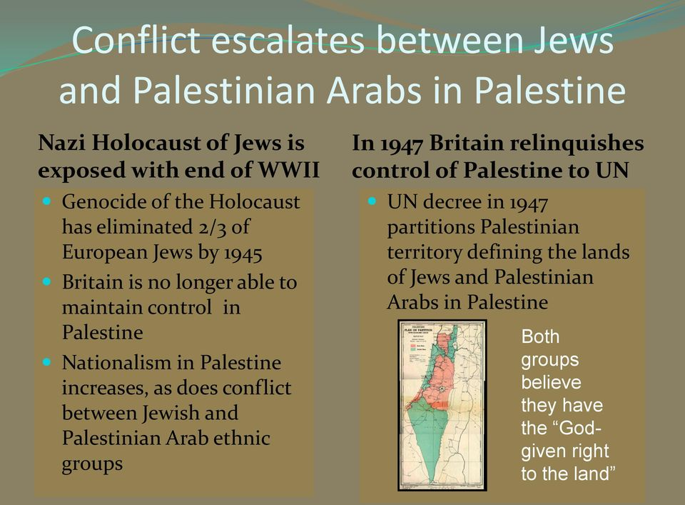 does conflict between Jewish and Palestinian Arab ethnic groups In 1947 Britain relinquishes control of Palestine to UN UN decree in 1947