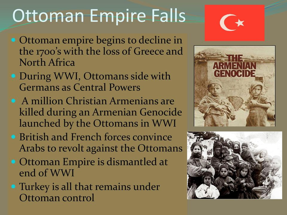 during an Armenian Genocide launched by the Ottomans in WWI British and French forces convince Arabs to
