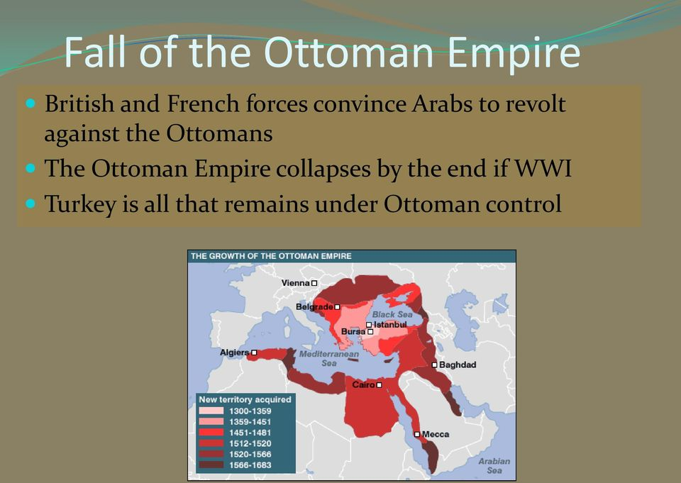 Ottomans The Ottoman Empire collapses by the end