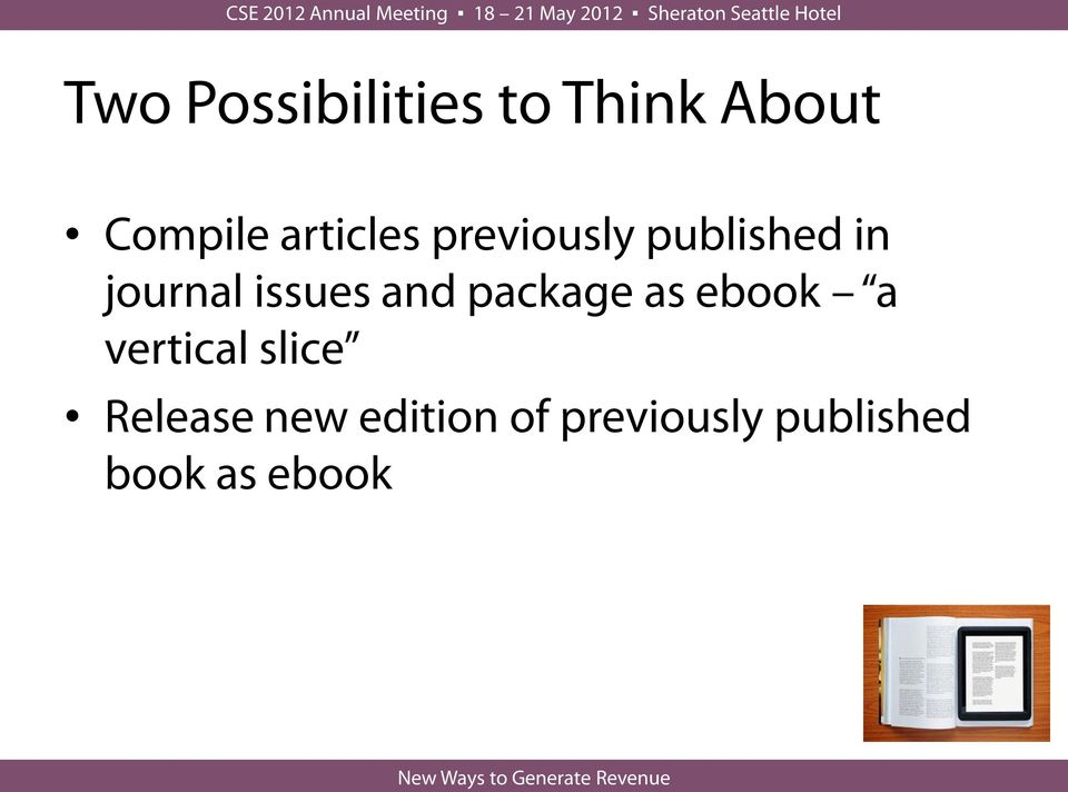 issues and package as ebook a vertical slice
