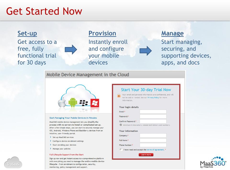 enroll and configure your mobile devices Manage Start