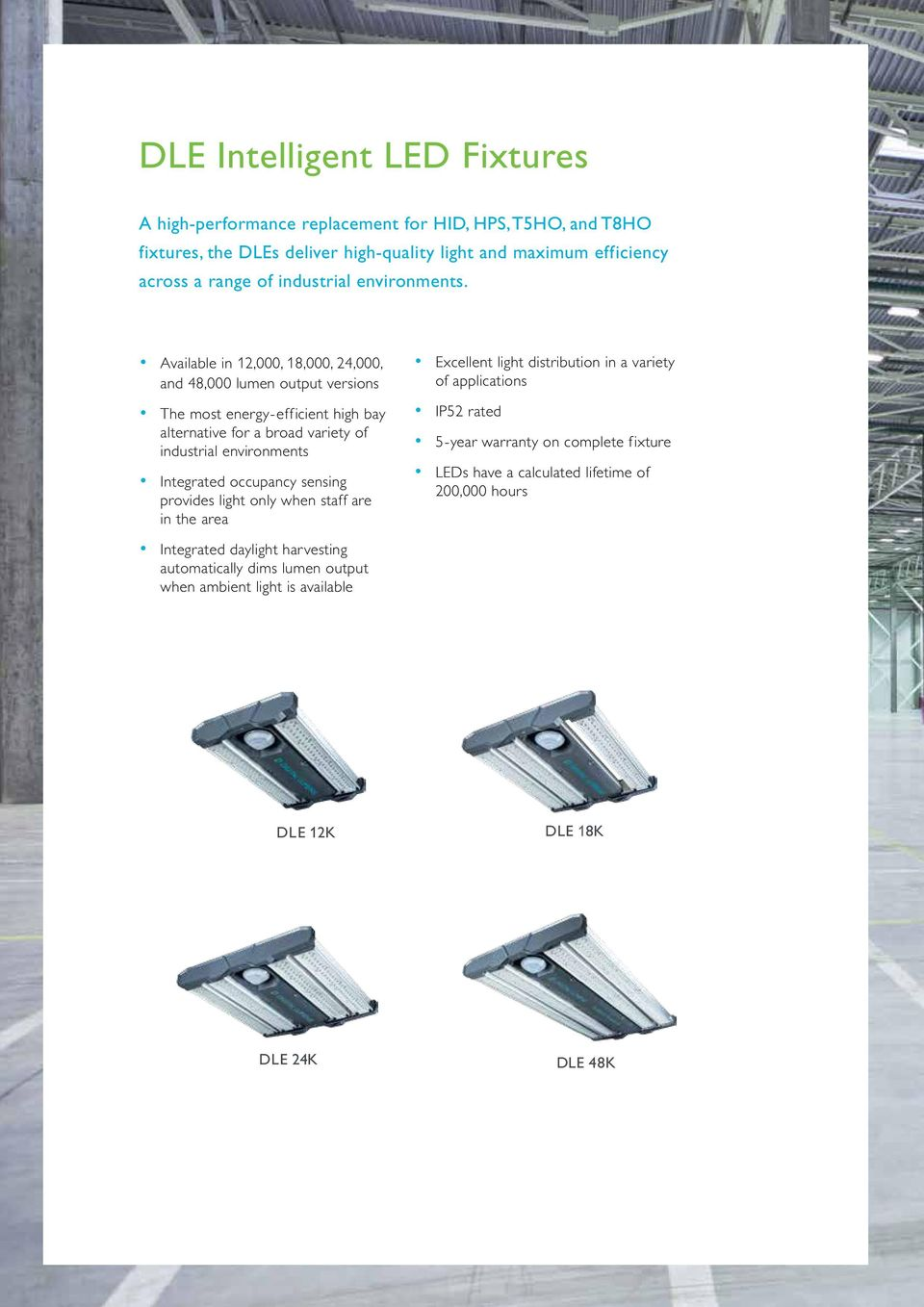Available in 12,000, 18,000, 24,000, and 48,000 lumen output versions The most energy-efficient high bay alternative for a broad variety of industrial environments Integrated