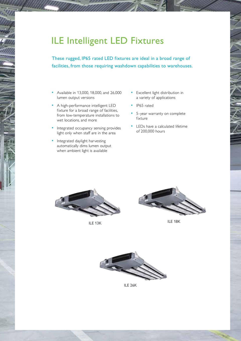 wet locations, and more Integrated occupancy sensing provides light only when staff are in the area Excellent light distribution in a variety of applications IP65 rated 5-year