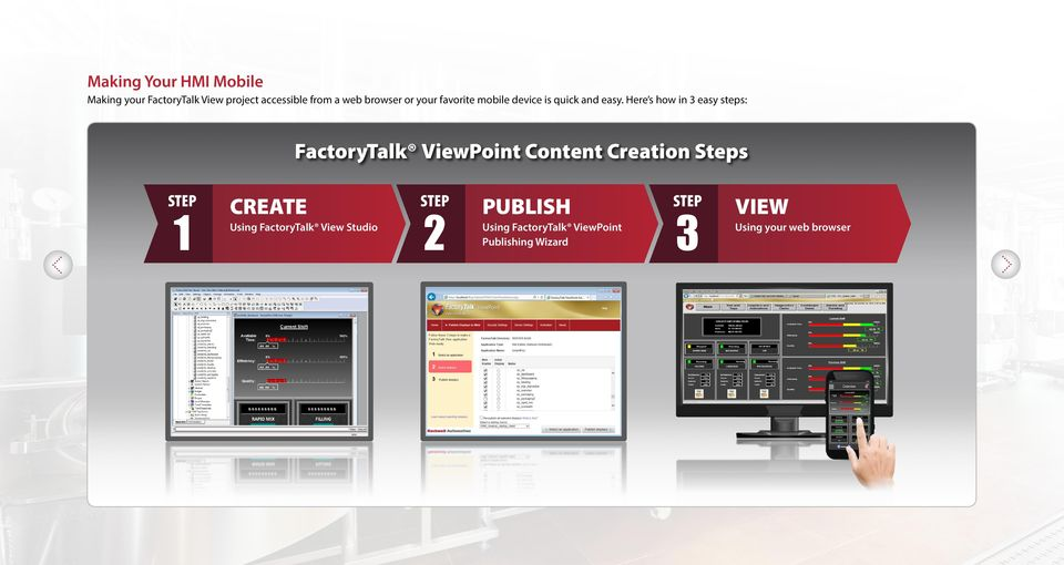 Here s how in 3 easy steps: FactoryTalk ViewPoint Content Creation Steps STEP 1 CREATE