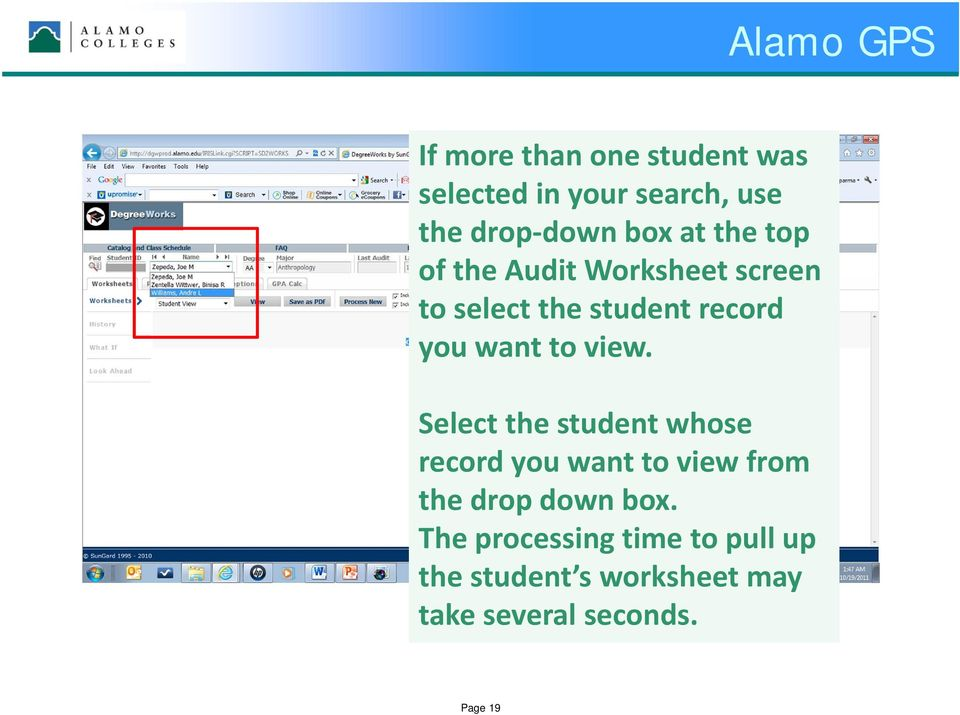 view. Select the student whose record you want to view from the drop down box.