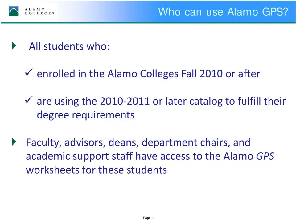 using the 2010 2011 or later catalog to fulfill their degree requirements