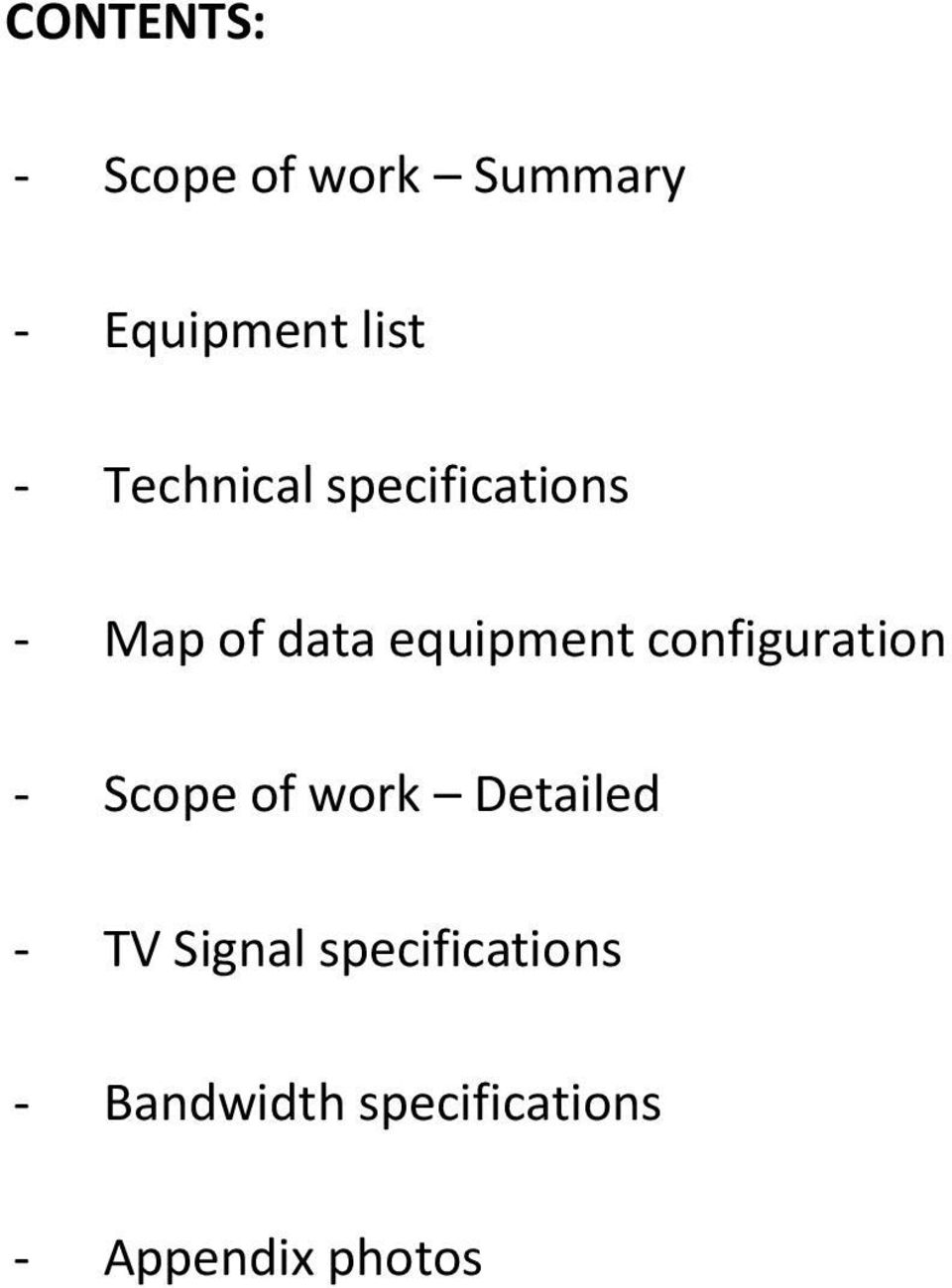 configuration - Scope of work Detailed - TV Signal