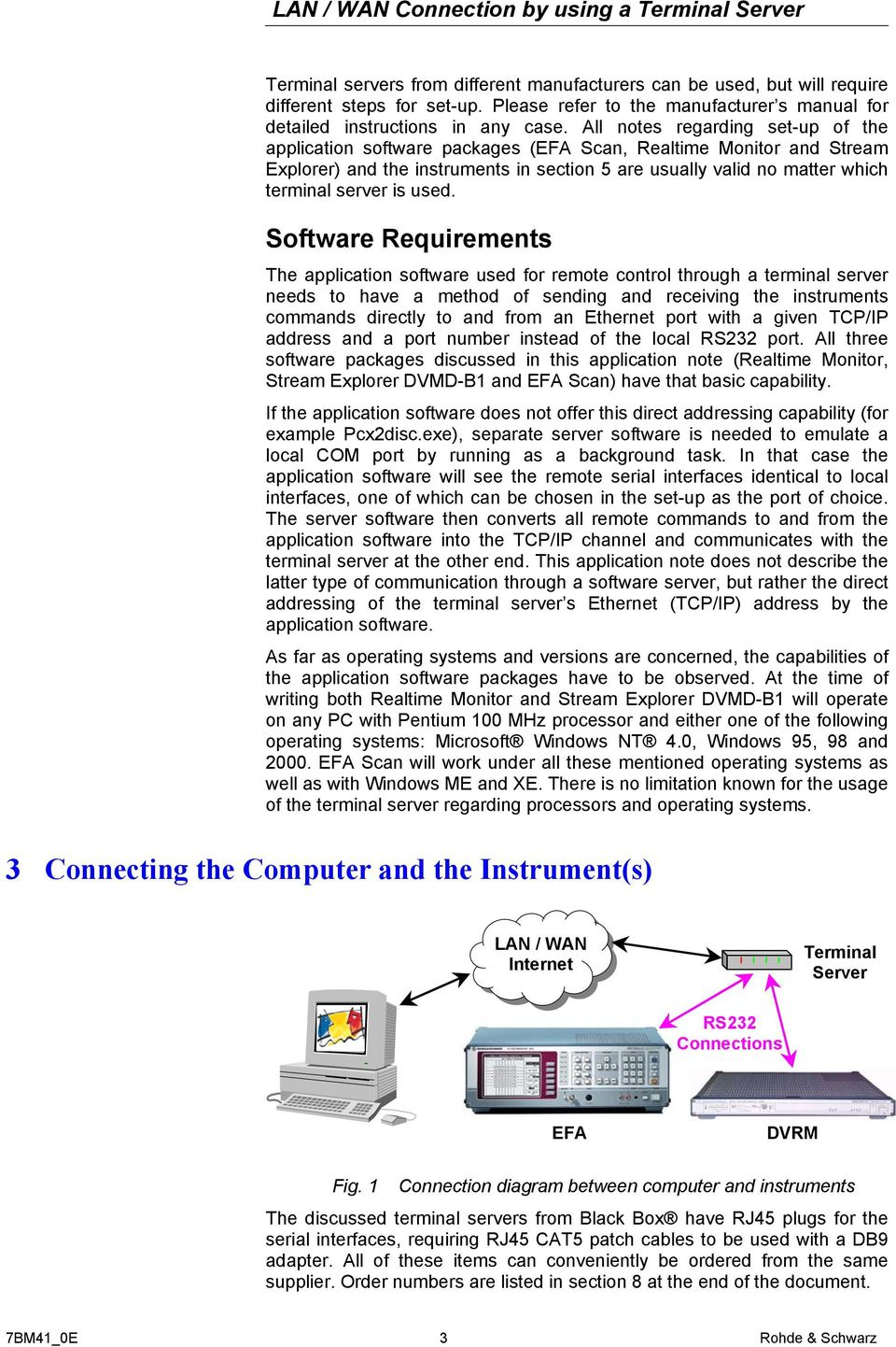 used. Software Requirements The application software used for remote control through a terminal server needs to have a method of sending and receiving the instruments commands directly to and from an