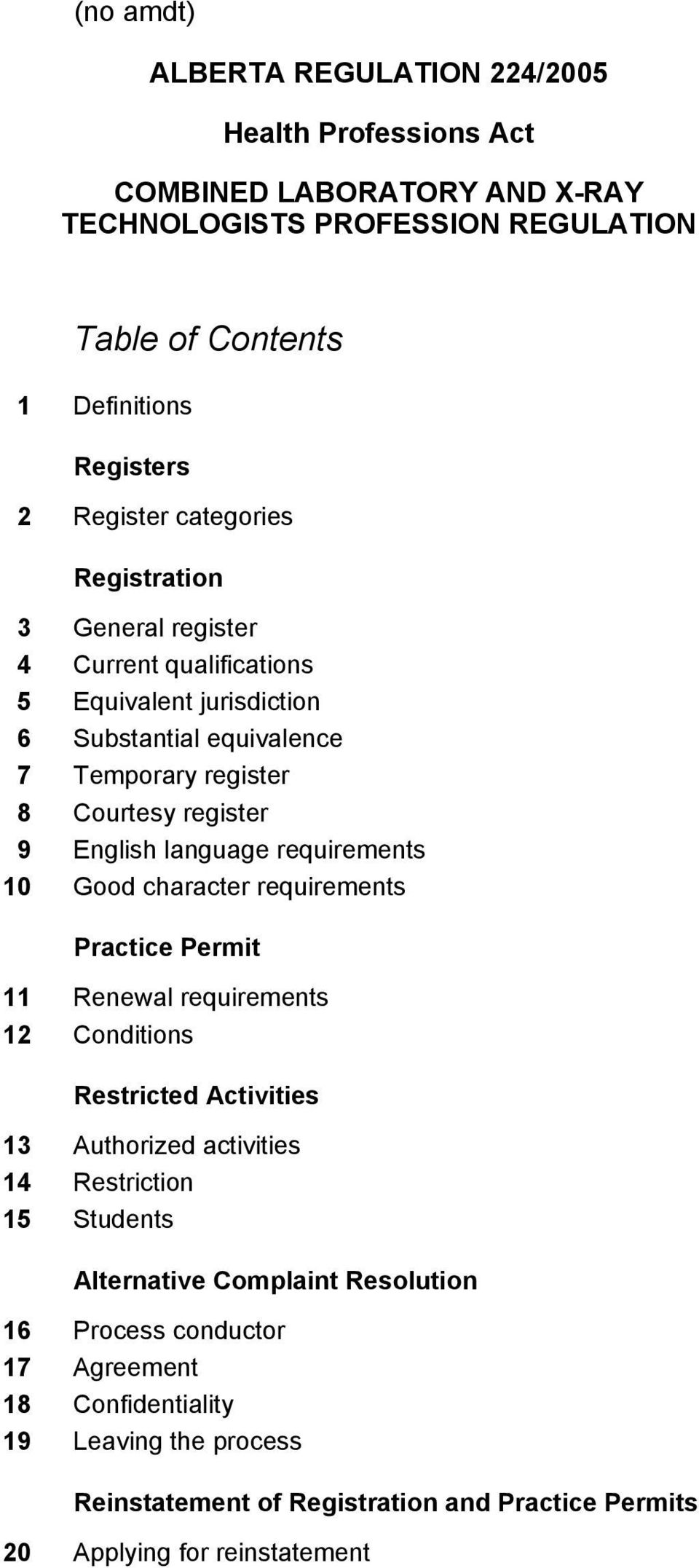 requirements 10 Good character requirements Practice Permit 11 Renewal requirements 12 Conditions Restricted Activities 13 Authorized activities 14 Restriction 15 Students