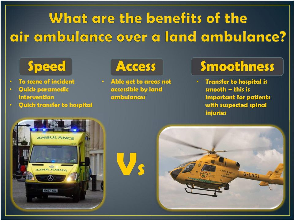 by land ambulances Smoothness Transfer to hospital is smooth