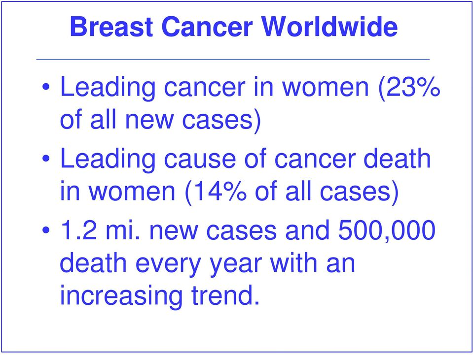 death in women (14% of all cases) 1.2 mi.