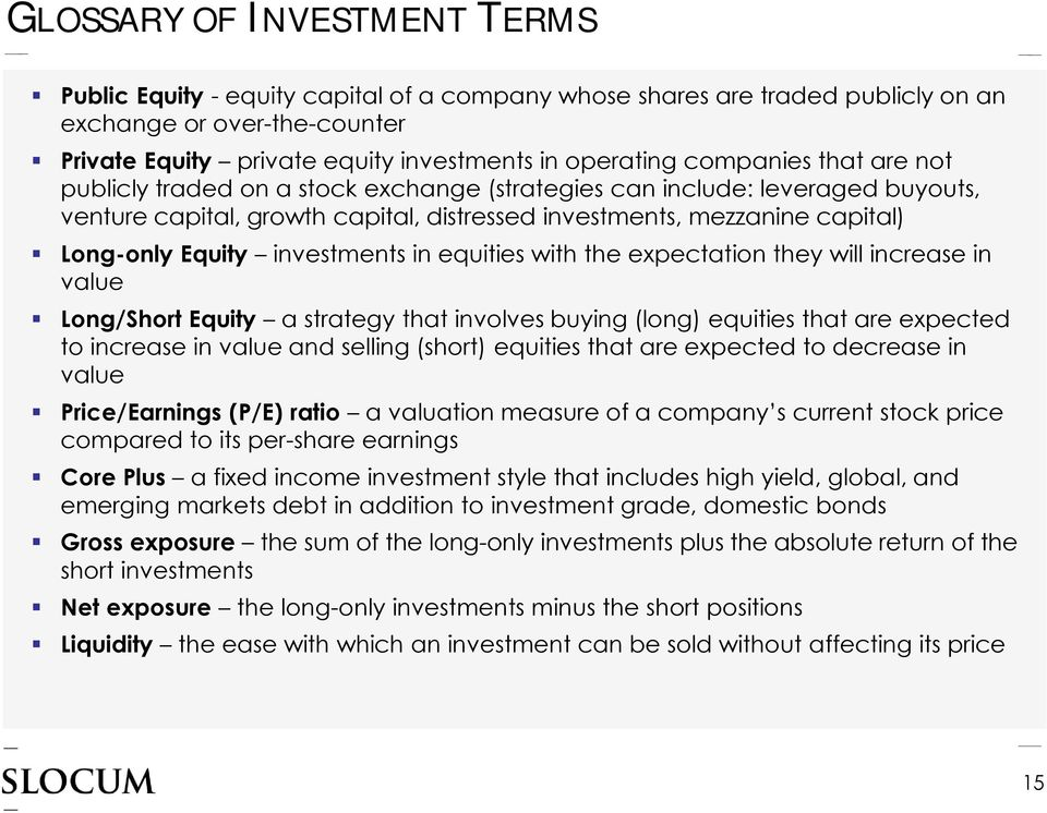 investments in equities with the expectation they will increase in value Long/Short Equity a strategy that involves buying (long) equities that are expected to increase in value and selling (short)
