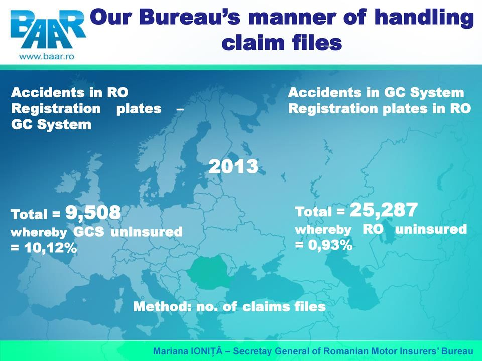 Registration plates in RO Total = 9,508 whereby GCS uninsured =