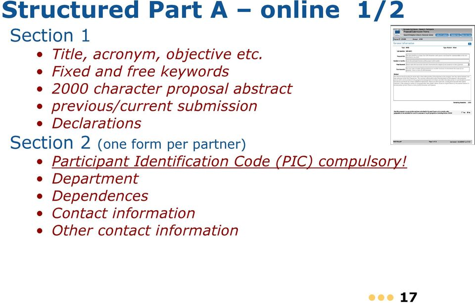 submission Declarations Section 2 (one form per partner) Participant