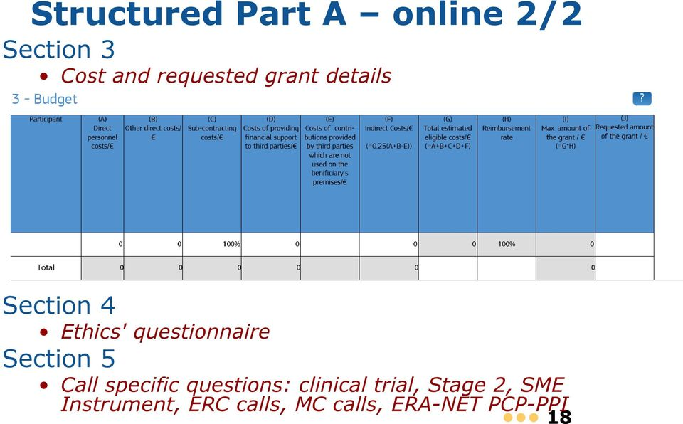 questionnaire Section 5 Call specific questions: